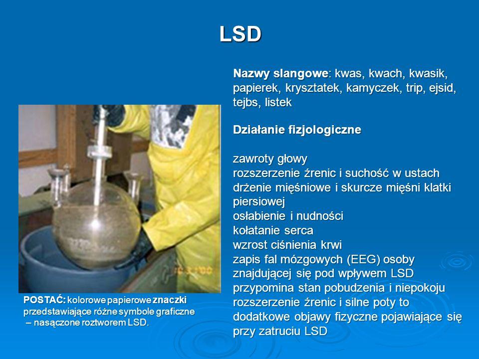 LSD zawroty głowy rozszerzenie źrenic i suchość w ustach drżenie mięśniowe i skurcze mięśni klatki piersiowej osłabienie i nudności kołatanie serca wz