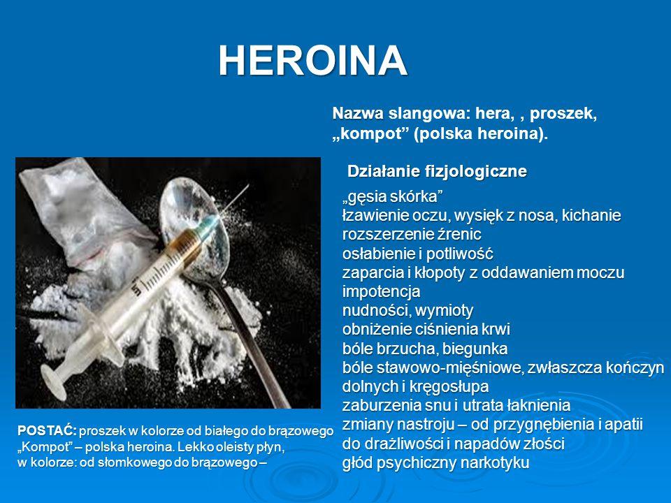 """Nazwa Nazwa slangowa: hera,, proszek, """"kompot"""" (polska heroina). HEROINA POSTAĆ: proszek w kolorze od białego do brązowego """"Kompot"""" – polska heroina."""