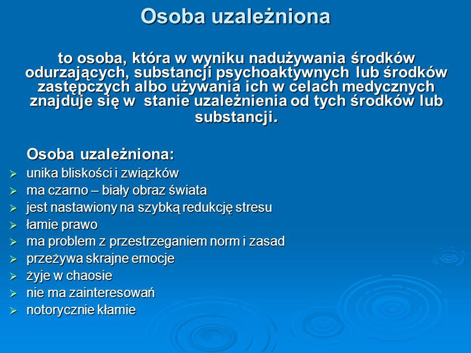 Osoba uzależniona to osoba, która w wyniku nadużywania środków odurzających, substancji psychoaktywnych lub środków zastępczych albo używania ich w ce