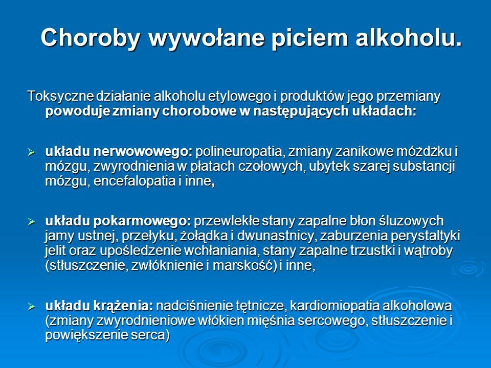 Choroby wywołane piciem alkoholu. Toksyczne działanie alkoholu etylowego i produktów jego przemiany powoduje zmiany chorobowe w następujących układach