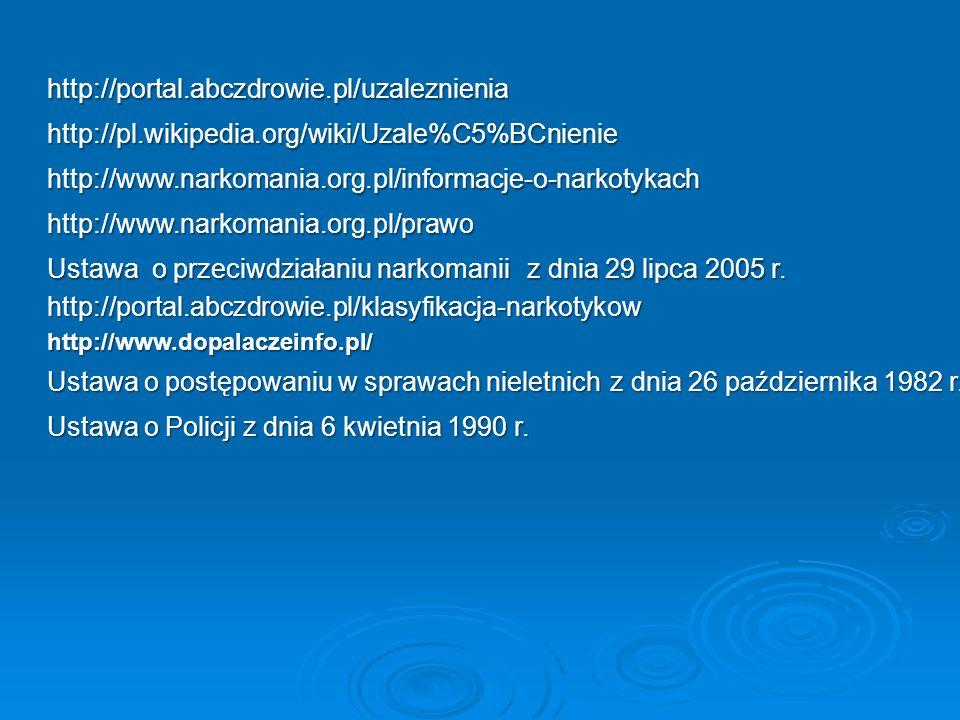 http://portal.abczdrowie.pl/uzaleznienia http://pl.wikipedia.org/wiki/Uzale%C5%BCnienie http://www.narkomania.org.pl/informacje-o-narkotykach http://w