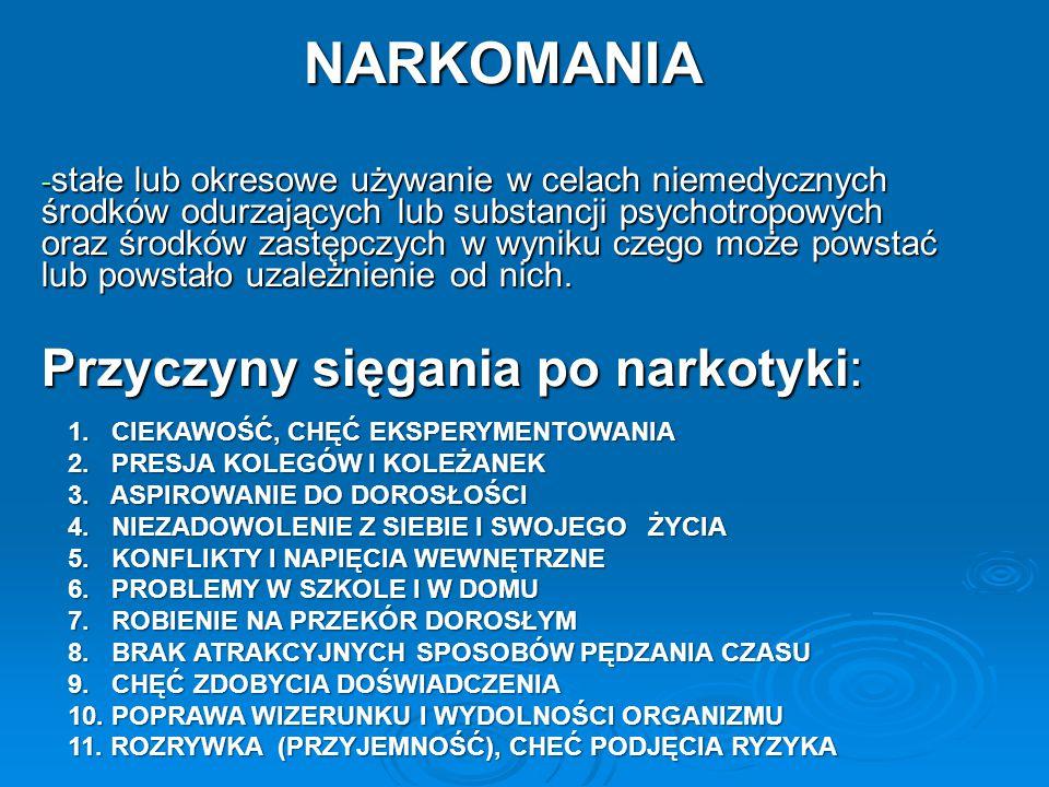 http://portal.abczdrowie.pl/uzaleznienia http://pl.wikipedia.org/wiki/Uzale%C5%BCnienie http://www.narkomania.org.pl/informacje-o-narkotykach http://www.narkomania.org.pl/prawo Ustawa o przeciwdziałaniu narkomanii http://portal.abczdrowie.pl/klasyfikacja-narkotykow http://www.dopalaczeinfo.pl/ Ustawa o postępowaniu w sprawach nieletnich z dnia 26 października 1982 r.
