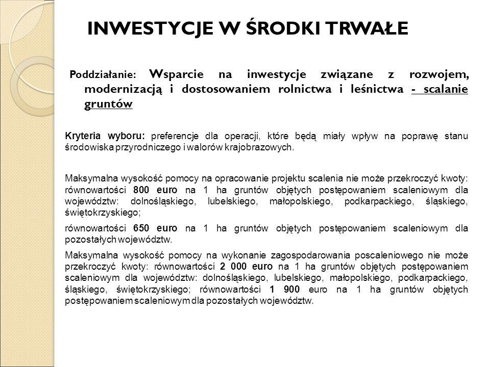INWESTYCJE W ŚRODKI TRWAŁE Poddziałanie: Wsparcie na inwestycje związane z rozwojem, modernizacją i dostosowaniem rolnictwa i leśnictwa - scalanie gru