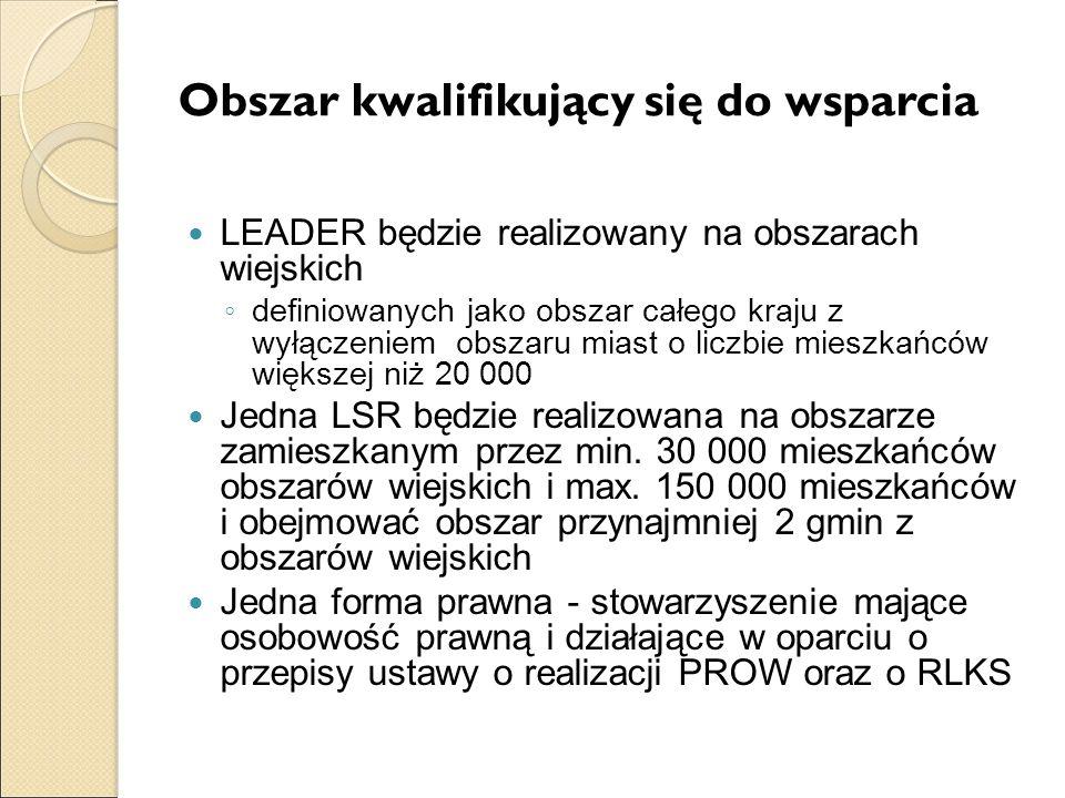 Obszar kwalifikujący się do wsparcia LEADER będzie realizowany na obszarach wiejskich ◦ definiowanych jako obszar całego kraju z wyłączeniem obszaru miast o liczbie mieszkańców większej niż 20 000 Jedna LSR będzie realizowana na obszarze zamieszkanym przez min.