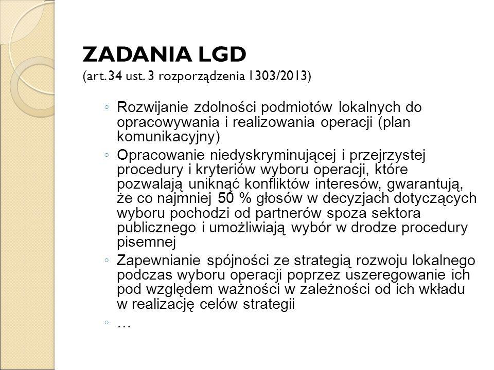 ZADANIA LGD (art. 34 ust. 3 rozporządzenia 1303/2013) ◦ Rozwijanie zdolności podmiotów lokalnych do opracowywania i realizowania operacji (plan komuni