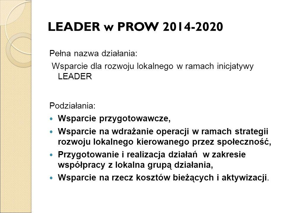 LEADER w PROW 2014-2020 Pełna nazwa działania: Wsparcie dla rozwoju lokalnego w ramach inicjatywy LEADER Podziałania: Wsparcie przygotowawcze, Wsparcie na wdrażanie operacji w ramach strategii rozwoju lokalnego kierowanego przez społeczność, Przygotowanie i realizacja działań w zakresie współpracy z lokalna grupą działania, Wsparcie na rzecz kosztów bieżących i aktywizacji.