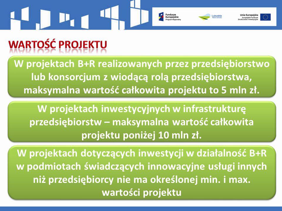 W projektach B+R realizowanych przez przedsiębiorstwo lub konsorcjum z wiodącą rolą przedsiębiorstwa, maksymalna wartość całkowita projektu to 5 mln zł.