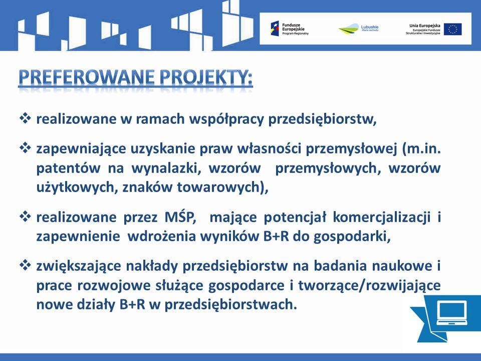  realizowane w ramach współpracy przedsiębiorstw,  zapewniające uzyskanie praw własności przemysłowej (m.in.
