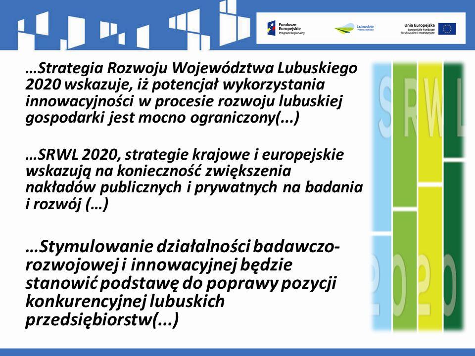 …Strategia Rozwoju Województwa Lubuskiego 2020 wskazuje, iż potencjał wykorzystania innowacyjności w procesie rozwoju lubuskiej gospodarki jest mocno ograniczony(...) …SRWL 2020, strategie krajowe i europejskie wskazują na konieczność zwiększenia nakładów publicznych i prywatnych na badania i rozwój (…) …Stymulowanie działalności badawczo- rozwojowej i innowacyjnej będzie stanowić podstawę do poprawy pozycji konkurencyjnej lubuskich przedsiębiorstw(...)
