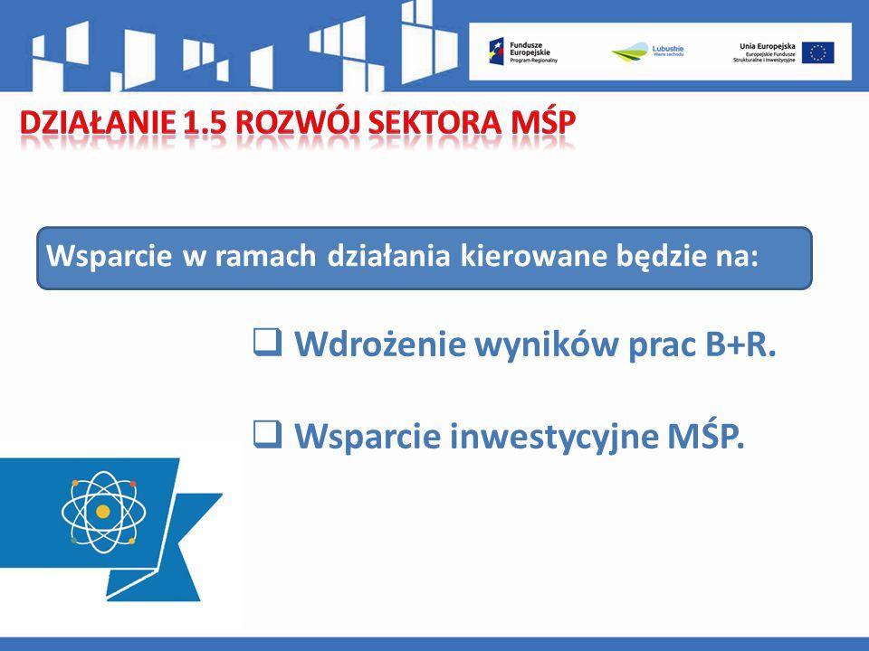 Wsparcie w ramach działania kierowane będzie na:  Wdrożenie wyników prac B+R.