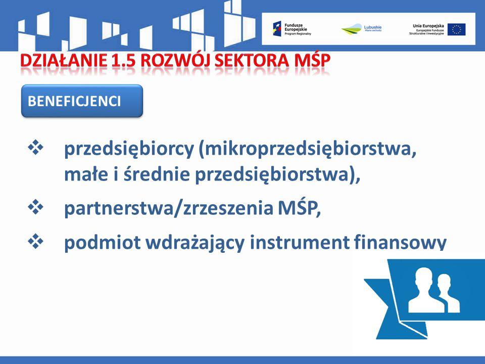 BENEFICJENCI  przedsiębiorcy (mikroprzedsiębiorstwa, małe i średnie przedsiębiorstwa),  partnerstwa/zrzeszenia MŚP,  podmiot wdrażający instrument finansowy