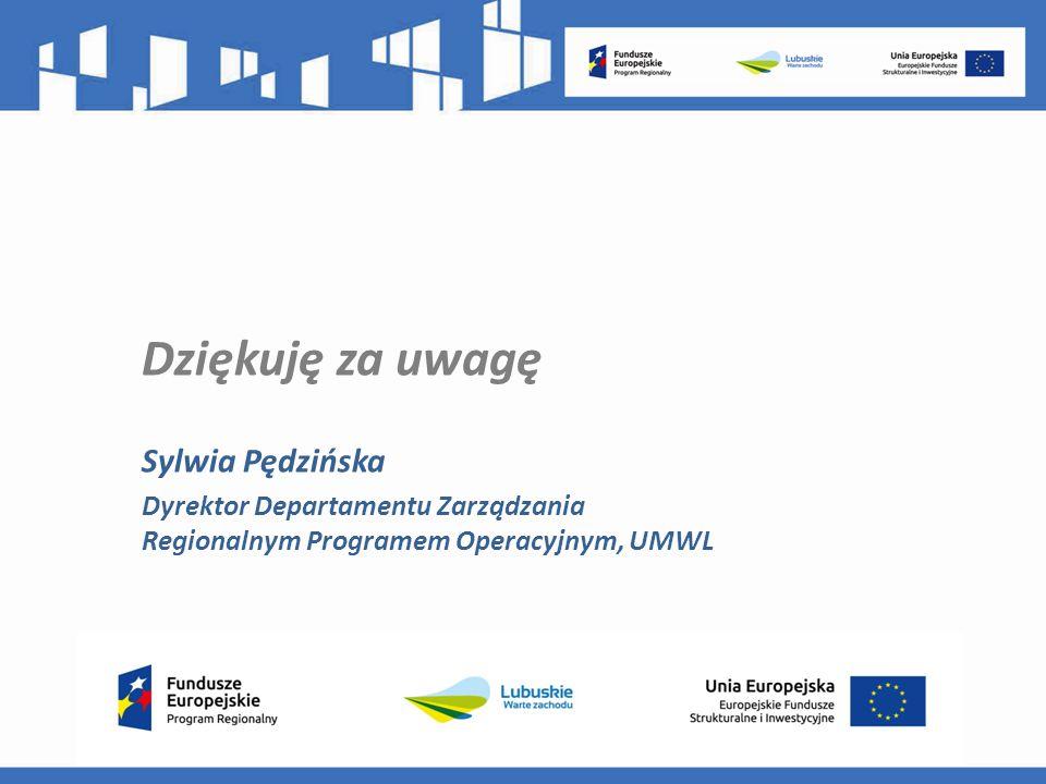 Dziękuję za uwagę Sylwia Pędzińska Dyrektor Departamentu Zarządzania Regionalnym Programem Operacyjnym, UMWL