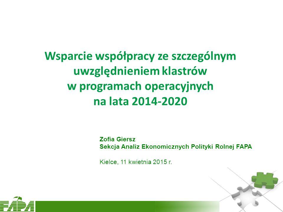 Wsparcie współpracy ze szczególnym uwzględnieniem klastrów w programach operacyjnych na lata 2014-2020 Zofia Giersz Sekcja Analiz Ekonomicznych Polity