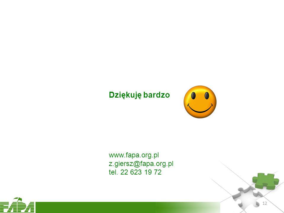 Dziękuję bardzo www.fapa.org.pl z.giersz@fapa.org.pl tel. 22 623 19 72 12