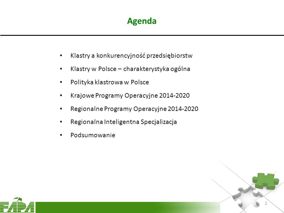 Agenda Klastry a konkurencyjność przedsiębiorstw Klastry w Polsce – charakterystyka ogólna Polityka klastrowa w Polsce Krajowe Programy Operacyjne 201