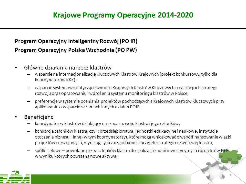 Krajowe Programy Operacyjne 2014-2020 Program Operacyjny Inteligentny Rozwój (PO IR) Program Operacyjny Polska Wschodnia (PO PW) Główne działania na r