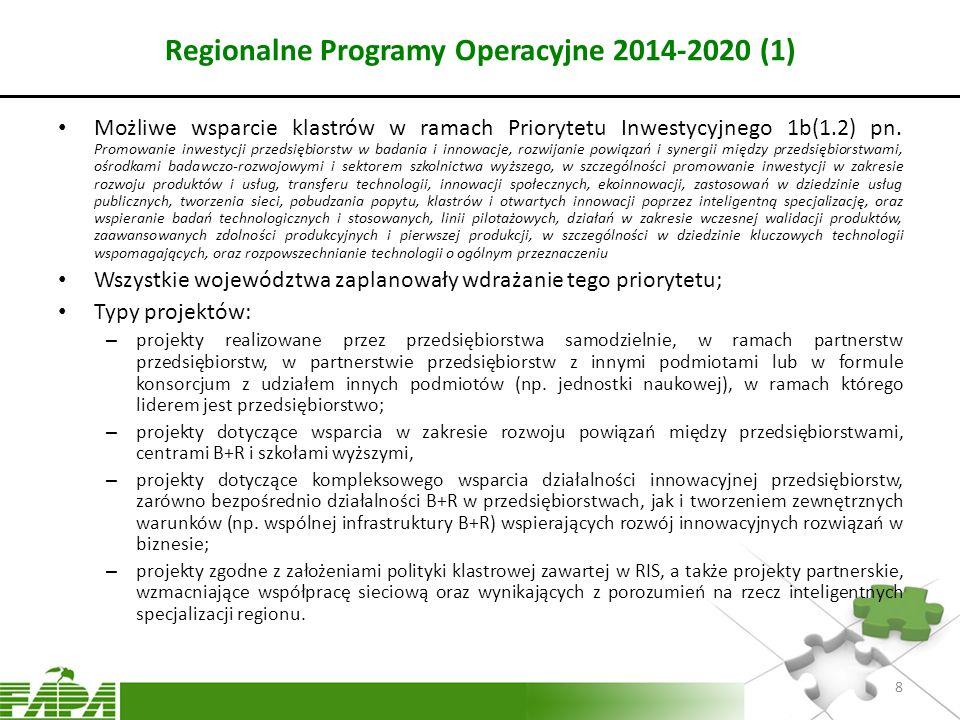 Regionalne Programy Operacyjne 2014-2020 (1) Możliwe wsparcie klastrów w ramach Priorytetu Inwestycyjnego 1b(1.2) pn. Promowanie inwestycji przedsiębi