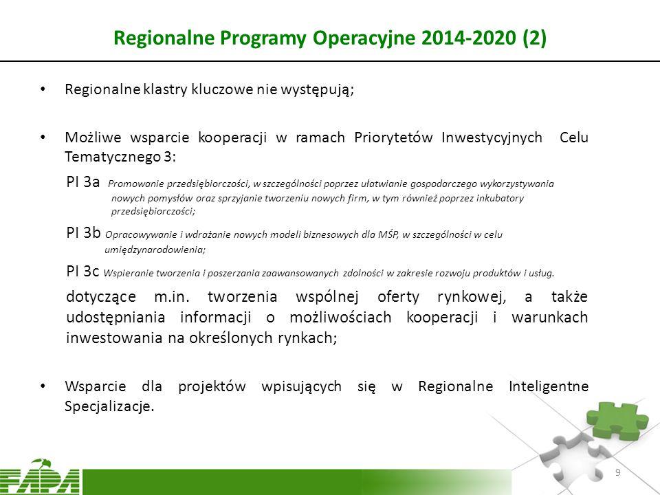 Regionalne Programy Operacyjne 2014-2020 (2) Regionalne klastry kluczowe nie występują; Możliwe wsparcie kooperacji w ramach Priorytetów Inwestycyjnyc