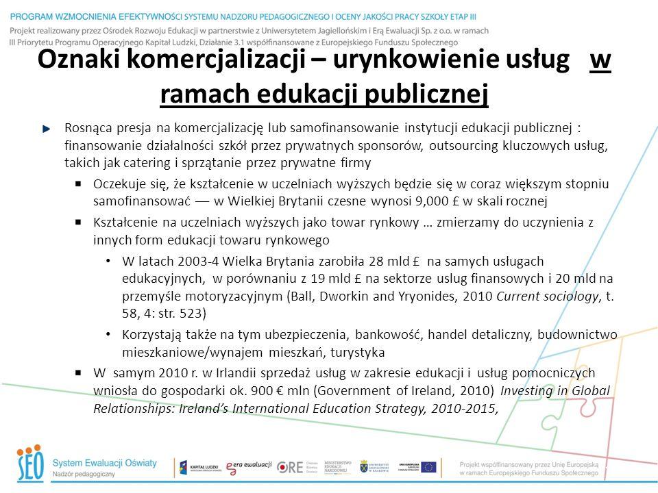 Oznaki komercjalizacji – urynkowienie usług w ramach edukacji publicznej Rosnąca presja na komercjalizację lub samofinansowanie instytucji edukacji pu