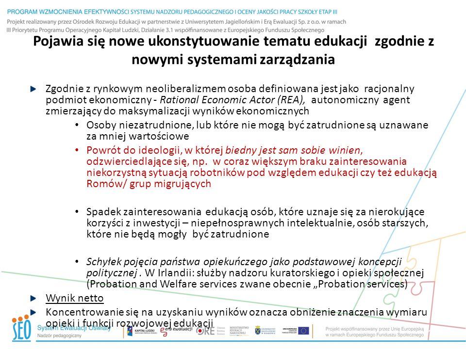 Pojawia się nowe ukonstytuowanie tematu edukacji zgodnie z nowymi systemami zarządzania Zgodnie z rynkowym neoliberalizmem osoba definiowana jest jako