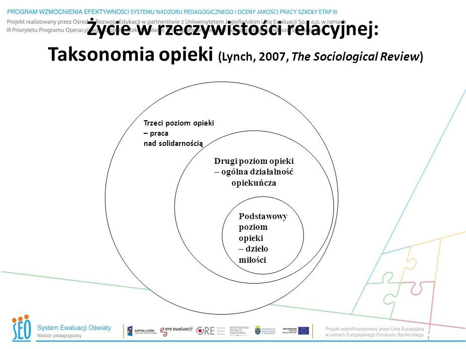20 Życie w rzeczywistości relacyjnej: Taksonomia opieki (Lynch, 2007, The Sociological Review) Trzeci poziom opieki – praca nad solidarnością Drugi po