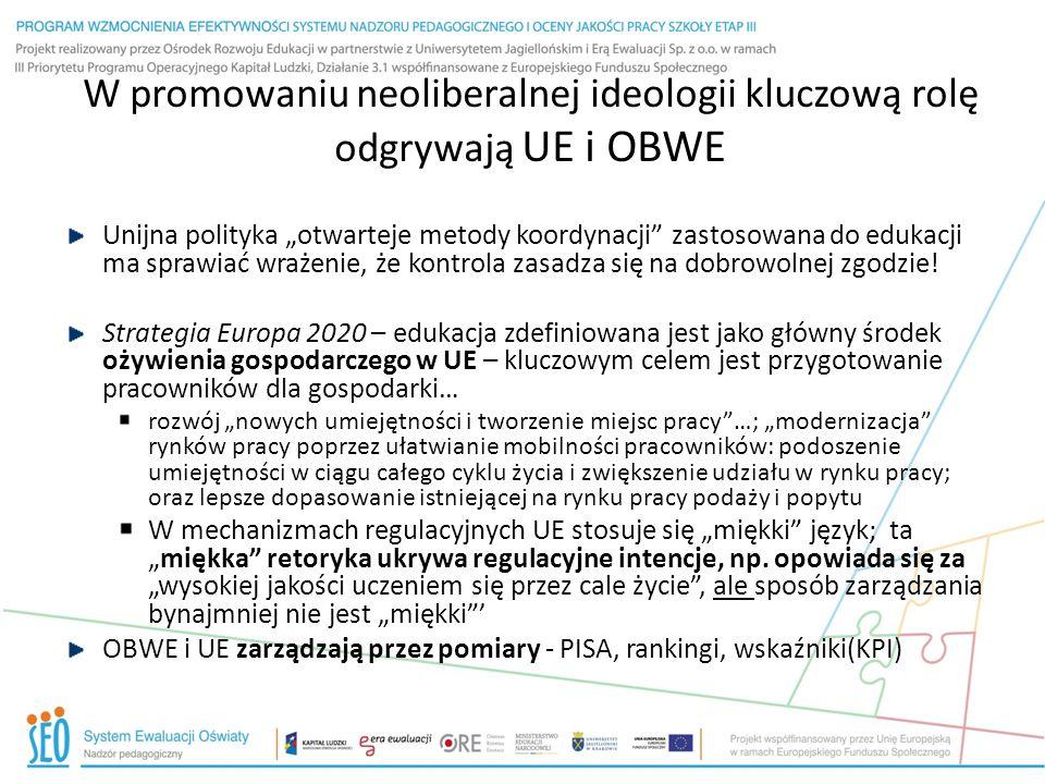 """W promowaniu neoliberalnej ideologii kluczową rolę odgrywają UE i OBWE Unijna polityka """"otwarteje metody koordynacji"""" zastosowana do edukacji ma spraw"""