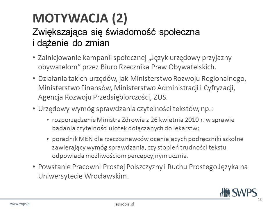 """MOTYWACJA (2) Zwiększająca się świadomość społeczna i dążenie do zmian Zainicjowanie kampanii społecznej """"Język urzędowy przyjazny obywatelom przez Biuro Rzecznika Praw Obywatelskich."""