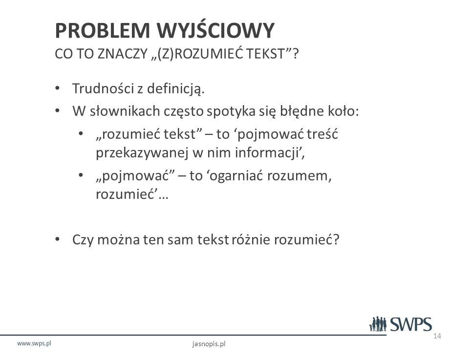 """PROBLEM WYJŚCIOWY CO TO ZNACZY """"(Z)ROZUMIEĆ TEKST ."""
