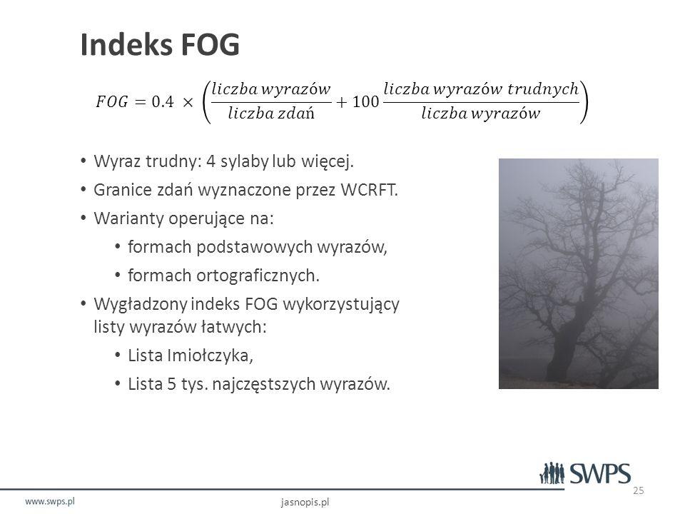 Indeks FOG Wyraz trudny: 4 sylaby lub więcej.Granice zdań wyznaczone przez WCRFT.