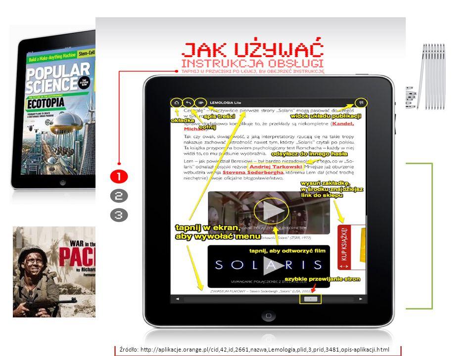 Aktualizacja treści,  Zdjęcia 3D (obiekt/miejsce w panoramie 360 stopni),  Dokumenty wideo (HD),  Interaktywne mapy, wykresy, tablice, infografiki,  Możliwość archiwizowania wybranych artykułów,  Możliwość dzielenia się treściami za pośrednictwem, mediów społecznościowych (Twitter, Facebook) i maila,  Częsta aktualizacja informacji (newsy – np.