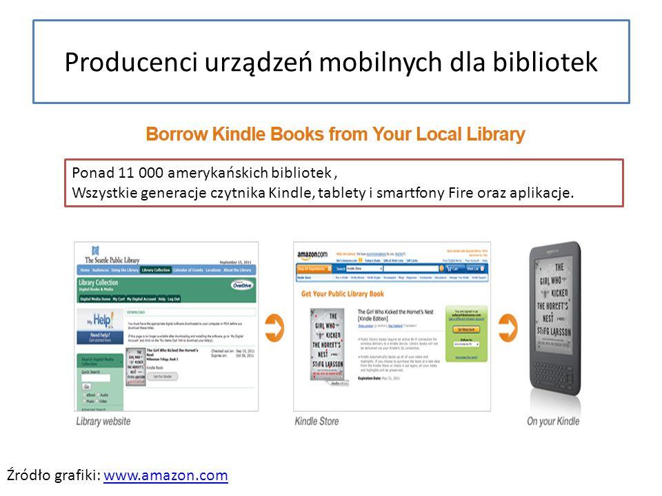 Producenci urządzeń mobilnych dla bibliotek Źródło grafiki: www.amazon.comwww.amazon.com Ponad 11 000 amerykańskich bibliotek, Wszystkie generacje czytnika Kindle, tablety i smartfony Fire oraz aplikacje.
