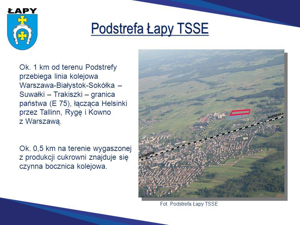 Podstrefa Łapy TSSE Ok. 1 km od terenu Podstrefy przebiega linia kolejowa Warszawa-Białystok-Sokółka – Suwałki – Trakiszki – granica państwa (E 75), ł