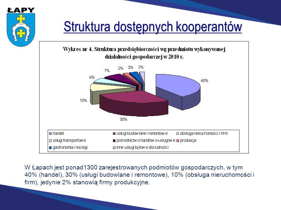 Struktura dostępnych kooperantów W Łapach jest ponad1300 zarejestrowanych podmiotów gospodarczych, w tym 40% (handel), 30% (usługi budowlane i remonto