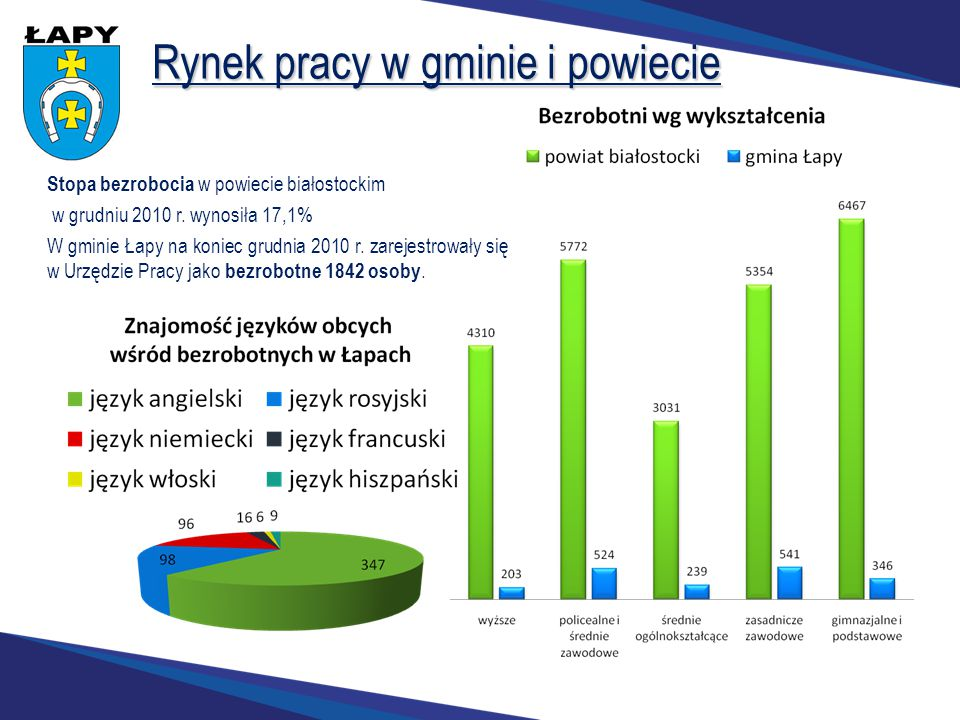 Rynek pracy w gminie i powiecie Stopa bezrobocia w powiecie białostockim w grudniu 2010 r. wynosiła 17,1% W gminie Łapy na koniec grudnia 2010 r. zare