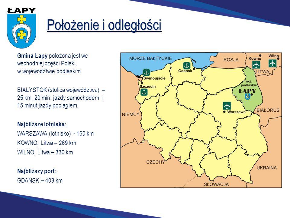 Położenie i odległości Gmina Łapy położona jest we wschodniej części Polski, w województwie podlaskim. BIAŁYSTOK (stolica województwa) – 25 km, 20 min