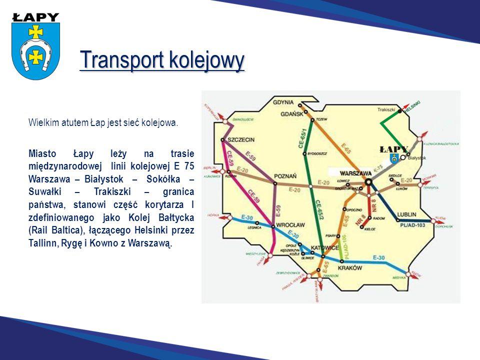 Transport kolejowy Wielkim atutem Łap jest sieć kolejowa. Miasto Łapy leży na trasie międzynarodowej linii kolejowej E 75 Warszawa – Białystok – Sokół