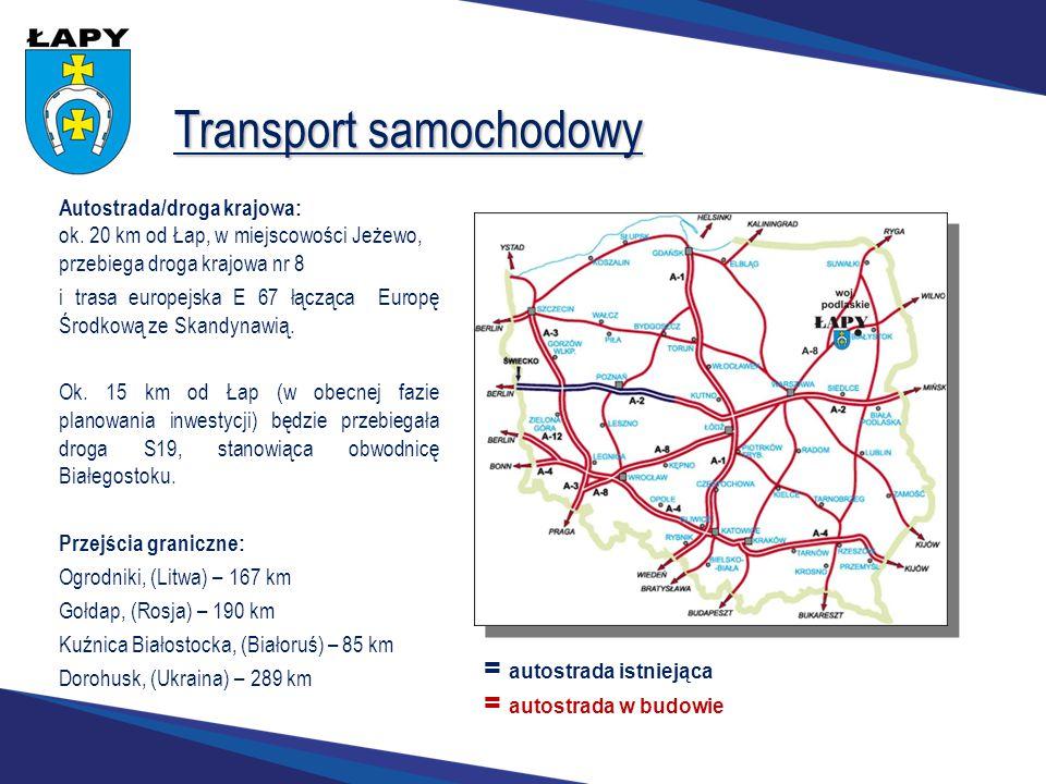 Transport samochodowy Autostrada/droga krajowa: ok. 20 km od Łap, w miejscowości Jeżewo, przebiega droga krajowa nr 8 i trasa europejska E 67 łącząca