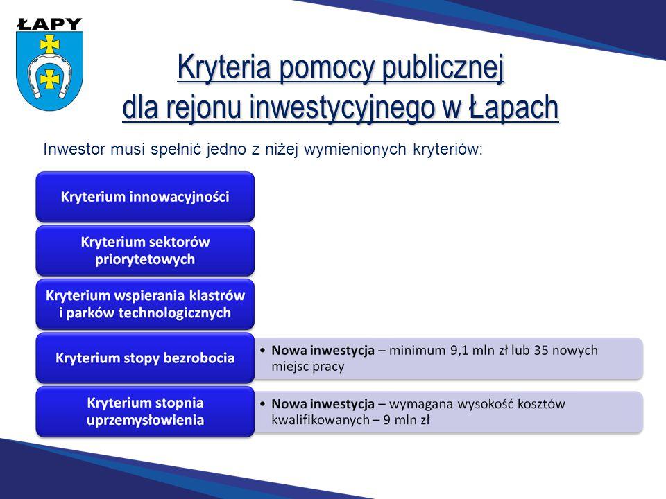 Kryteria pomocy publicznej dla rejonu inwestycyjnego w Łapach Inwestor musi spełnić jedno z niżej wymienionych kryteriów: