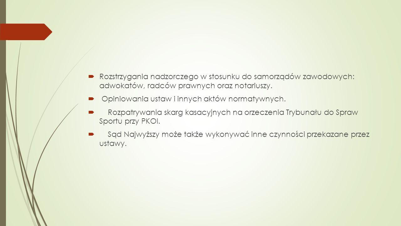  Rozstrzygania nadzorczego w stosunku do samorządów zawodowych: adwokatów, radców prawnych oraz notariuszy.  Opiniowania ustaw i innych aktów normat
