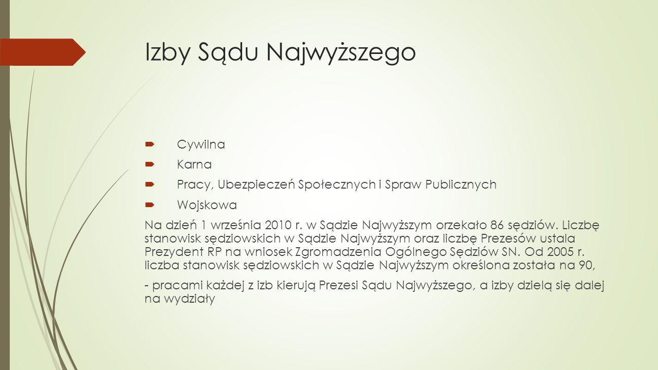 Pierwszy Prezes Sądu Najwyższego  Powołuje go Prezydent Rzeczypospolitej Polskiej na sześcioletnią kadencję spośród sędziów Sądu Najwyższego (SN) w stanie czynnym (obowiązuje ograniczenie następujących bezpośrednio po sobie kadencji do dwóch), a wyboru dokonuje spośród dwóch kandydatów przedstawionych przez Zgromadzenie Ogólne Sędziów Sądu Najwyższego.