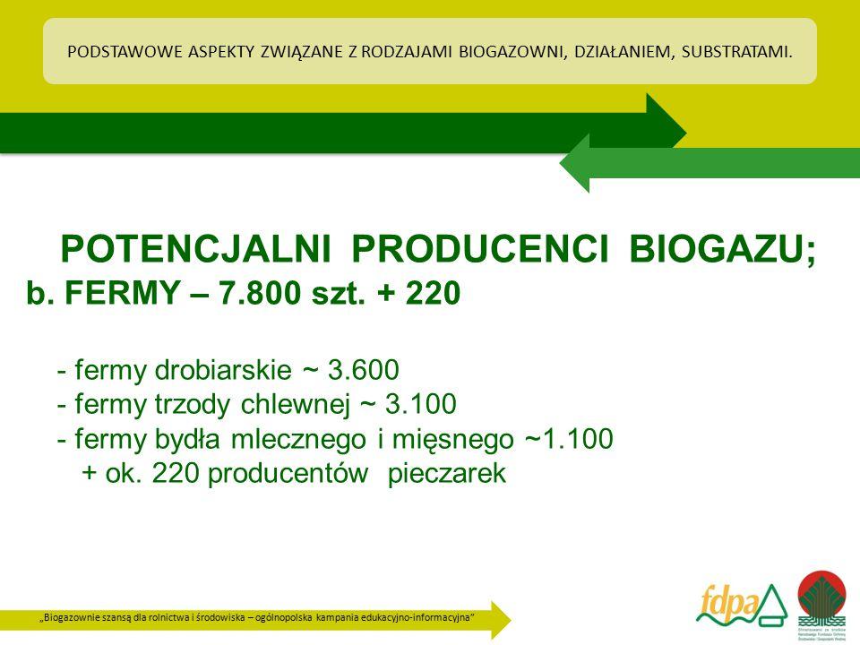 """""""Biogazownie szansą dla rolnictwa i środowiska – ogólnopolska kampania edukacyjno-informacyjna"""" POTENCJALNI PRODUCENCI BIOGAZU; b. FERMY – 7.800 szt."""