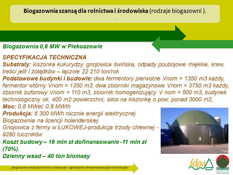 """""""Biogazownie szansą dla rolnictwa i środowiska – ogólnopolska kampania edukacyjno-informacyjna"""" Biogazownia 0,8 MW w Piekoszowie SPECYFIKACJA TECHNICZ"""