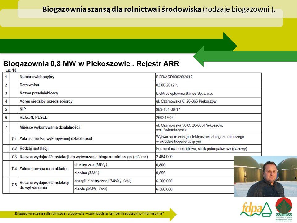 """""""Biogazownie szansą dla rolnictwa i środowiska – ogólnopolska kampania edukacyjno-informacyjna"""" Biogazownia 0,8 MW w Piekoszowie. Rejestr ARR Biogazow"""