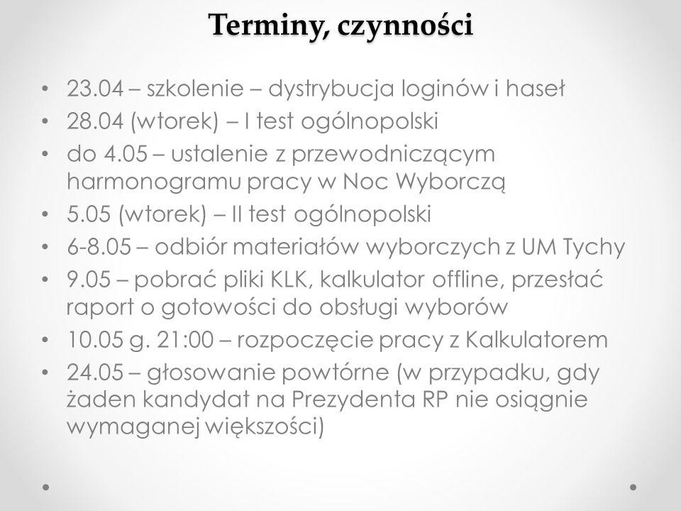 Terminy, czynności 23.04 – szkolenie – dystrybucja loginów i haseł 28.04 (wtorek) – I test ogólnopolski do 4.05 – ustalenie z przewodniczącym harmonog