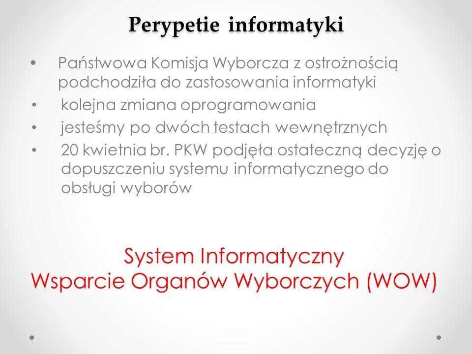Perypetie informatyki Państwowa Komisja Wyborcza z ostrożnością podchodziła do zastosowania informatyki kolejna zmiana oprogramowania jesteśmy po dwóc