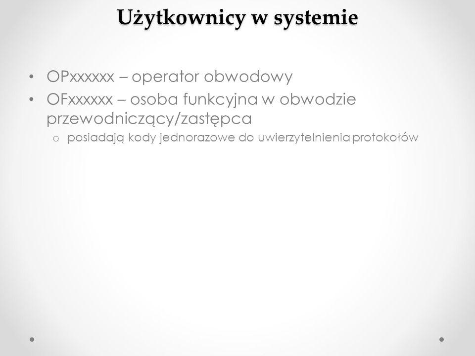 Użytkownicy w systemie OPxxxxxx – operator obwodowy OFxxxxxx – osoba funkcyjna w obwodzie przewodniczący/zastępca o posiadają kody jednorazowe do uwie