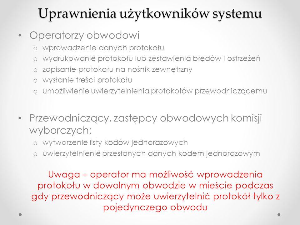 Uprawnienia użytkowników systemu Operatorzy obwodowi o wprowadzenie danych protokołu o wydrukowanie protokołu lub zestawienia błędów i ostrzeżeń o zap