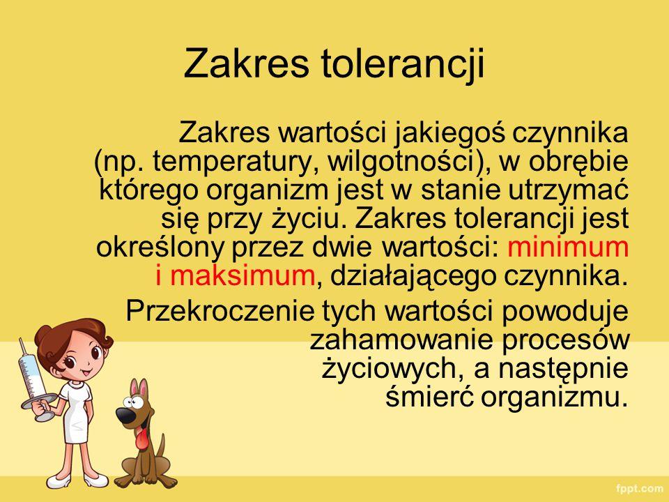 Zakres tolerancji Zakres wartości jakiegoś czynnika (np. temperatury, wilgotności), w obrębie którego organizm jest w stanie utrzymać się przy życiu.