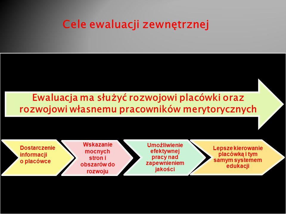 8 Dostarczenie informacji o placówce Wskazanie mocnych stron i obszarów do rozwoju Umożliwienie efektywnej pracy nad zapewnieniem jakości Lepsze kierowanie placówką i tym samym systemem edukacji Ewaluacja ma służyć rozwojowi placówki oraz rozwojowi własnemu pracowników merytorycznych Cele ewaluacji zewnętrznej