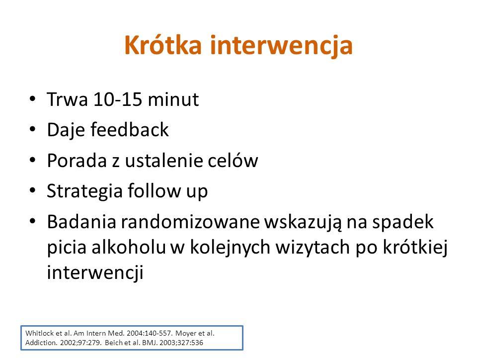 Krótka interwencja Trwa 10-15 minut Daje feedback Porada z ustalenie celów Strategia follow up Badania randomizowane wskazują na spadek picia alkoholu w kolejnych wizytach po krótkiej interwencji Whitlock et al.